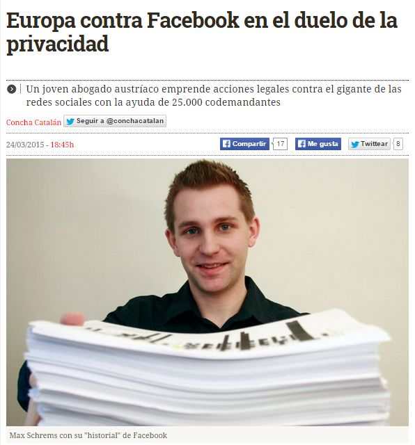 Europa contra Facebook en el duelo de la privacidad / @diarioturing | #readyfordigitalprivacy #gossiplibrarian15