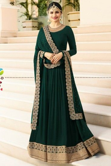 6de3b4b6f1 #Eid #Dresses - Dark Green Heavy embroidered Anarkali Suit - Thread Sutra.  We can make this dress on order