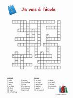 french school vocabulary crossword