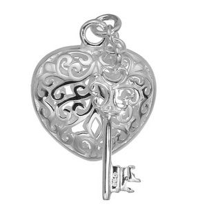 Sterling silver Filigree heart with small key.