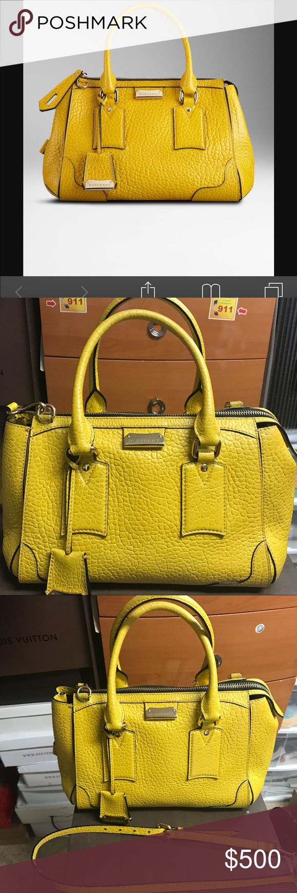 Women's Heritage Grain Leather Tote Bag Burberry yellow tote. Bags