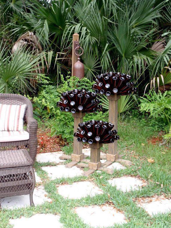Beer or Wine  Bottle Tree Unique Recycled by GnakedGnomery on Etsy, $60.00Unique Recycle, Gardens Design Ideas, Beer Bottle, Wine Bottle Trees, Gardens Art, Wine Bottles, Interiors Gardens, Bottle Art, Trees Unique