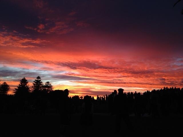 "b+s reader Elizabeth Webb's #serenityspot: ""Sunrise at Fremantle War Memorial Anzac Day 2012."""