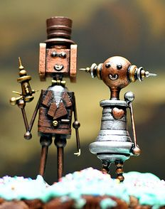 Steampunk Wedding Cake Toppers... super cute!