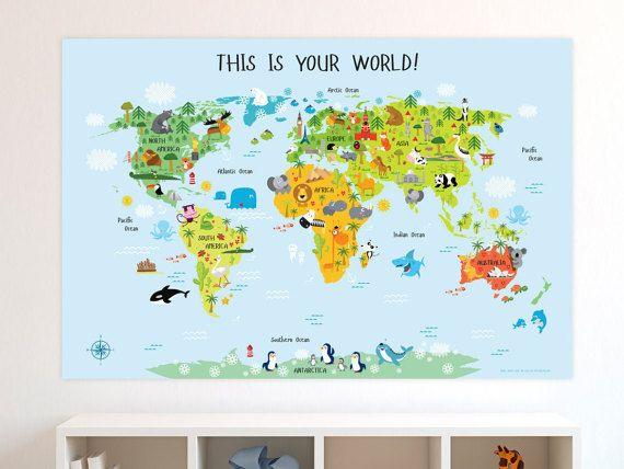 Kinder wereldkaart, unieke baby geschenken, de kaart van de wereld van de kwekerij, speelkamer Art. Mijn eerste wereld kaart Poster