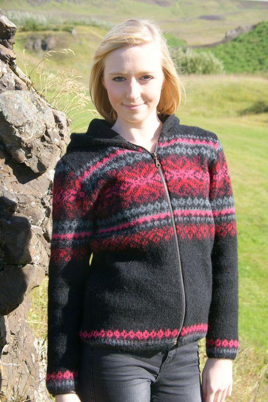 a8c84ce8565544 Damen Hoodie - Wunderschöner Damen Kapuzen-Strickjacke mit durchgehendem  Reißverschluss. Hergestellt aus isländischer Schafwolle