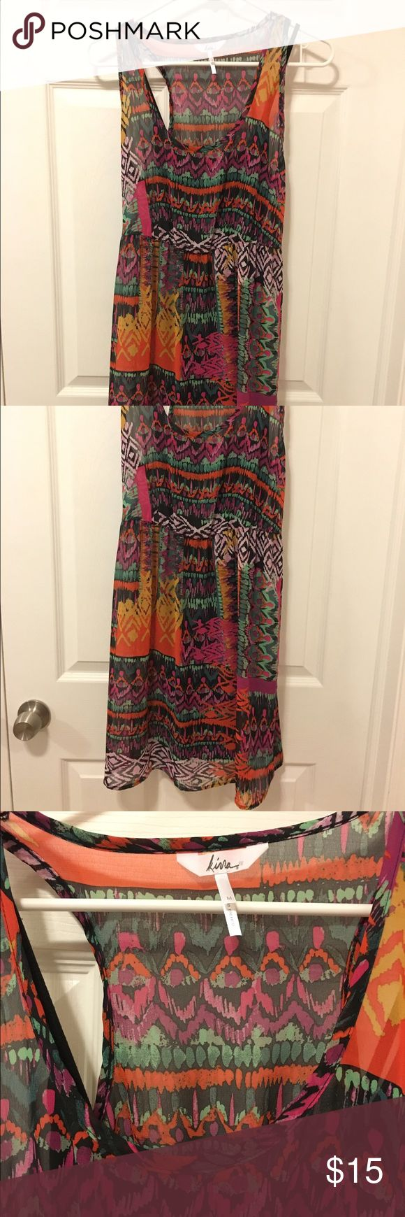 Aztec short dress Kirra from PacSun orange, purple, green Aztec design printed tank dress that reaches just above the knee. Includes a black slip underneath. Pairs great with the black belt in my listings! Great for a casual summers day! Only worn twice. Kirra Dresses Midi