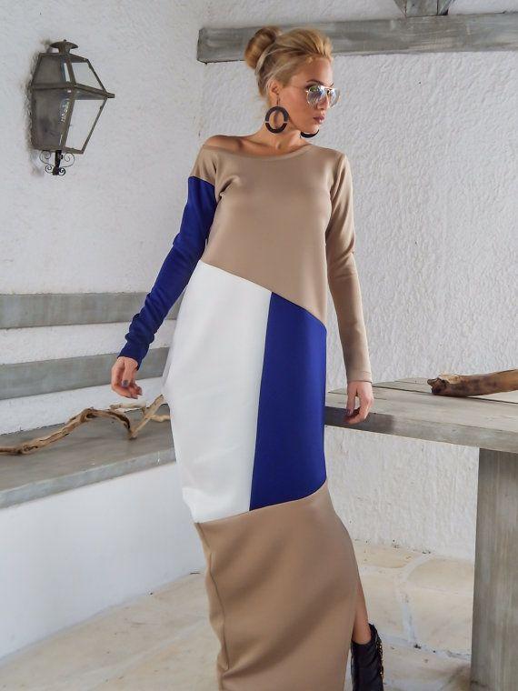 Plongée en néoprène Colorblock Maxi Robe Kaftan / Beige bleu