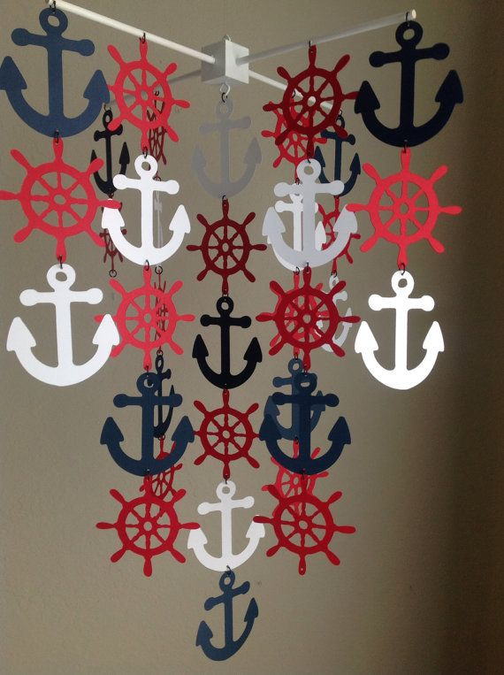 Nautical Mobile Anchor Mobile Sailor Mobile by MadeByKatee on Etsy
