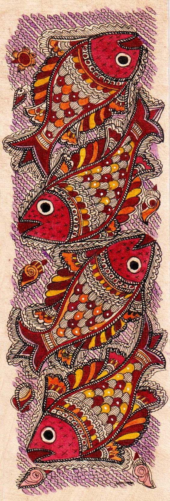 Madhubani or Mithila Paintings are said to have originated during the period of Ramayana, when King Janaka commissioned artists to do paintings during the wedding of his daughter, Sita to Lord Ram. The paintings usually depicted nature and Hindu religious motifs, the themes generally revolve around Hindu deities.http://handicrafts.exoticabazaar.com/view/4847-7-fish126.html