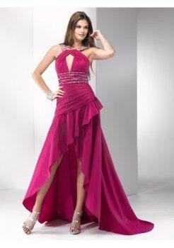 bijou décolleté corset de taffetas une ligne haut-bas à bas prix des robes de bal