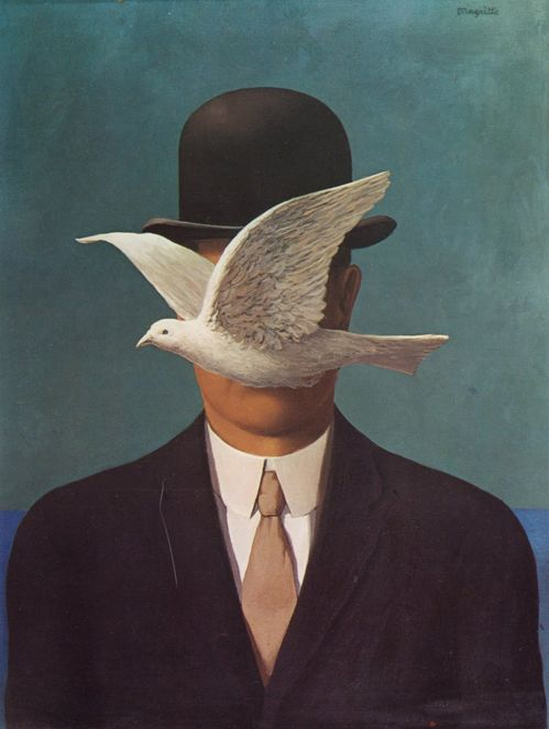René Magritte. Have always loved the eerie stillness in his work - even with this flying dove it is a very quiet space.