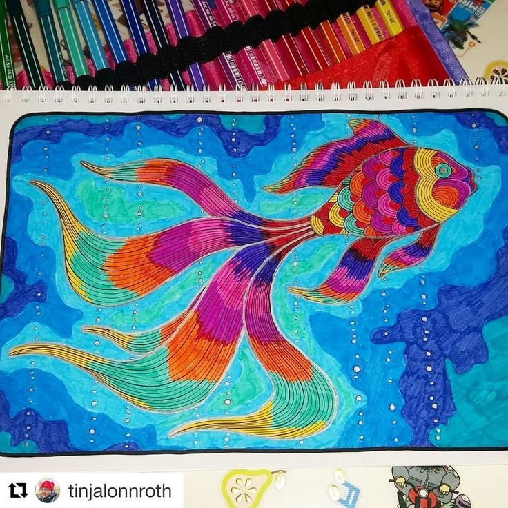 "Mental Images Coloring Books (@paivivesala_art) on Instagram: ""You can't be sad with these colors! I just love this joyful fish, colored by @tinjalonnroth Book:…"""