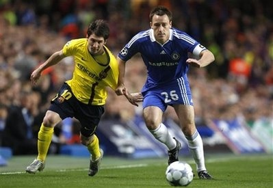 Messi vs Terry   Champions league clash    Barcelona will meet Chelsea in the semi final