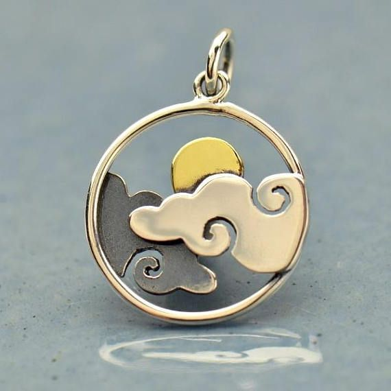 Sun And Clouds Pendant Sterling Silver Bronze Sun Diy Jewelry Add To Your Necklace Wind S Discount Jewelry Clean Gold Jewelry Wholesale Jewelry
