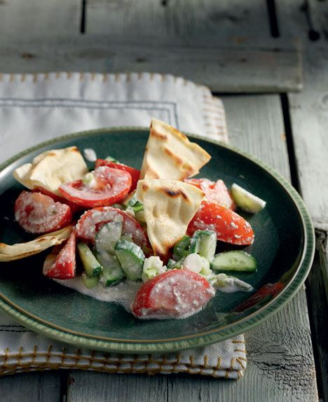 Greek salad with feta cheese dressing