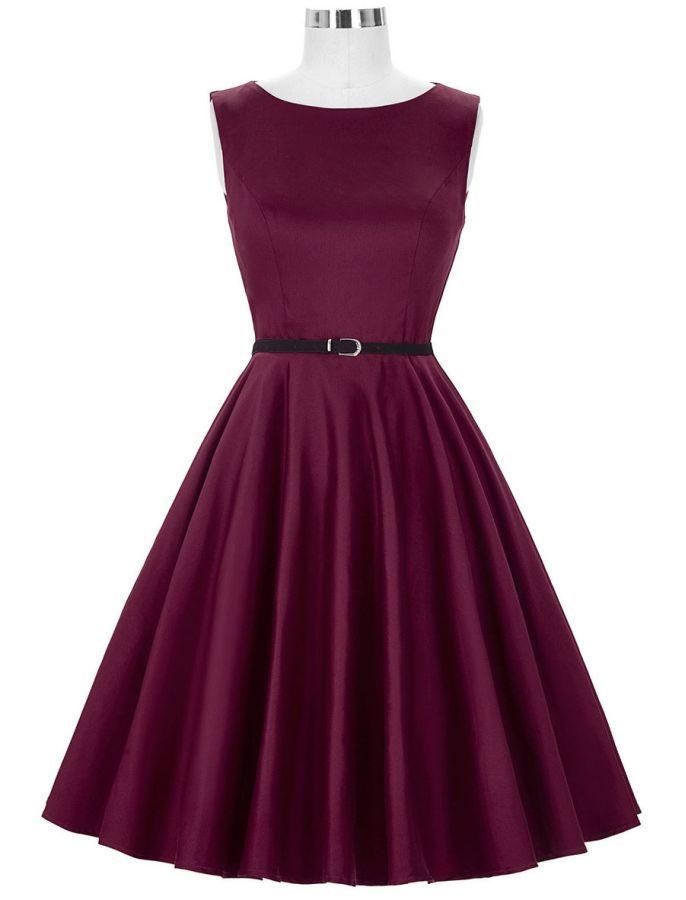 Audrey Hepburn 50s Retro Style My Sugar Plum Vintage Inspired Swing Dress