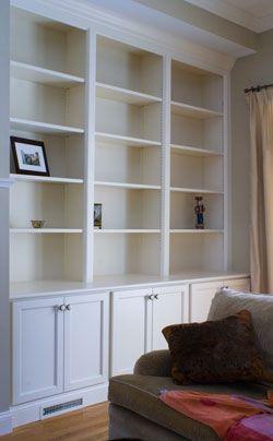 living room shelves...beside the fireplace