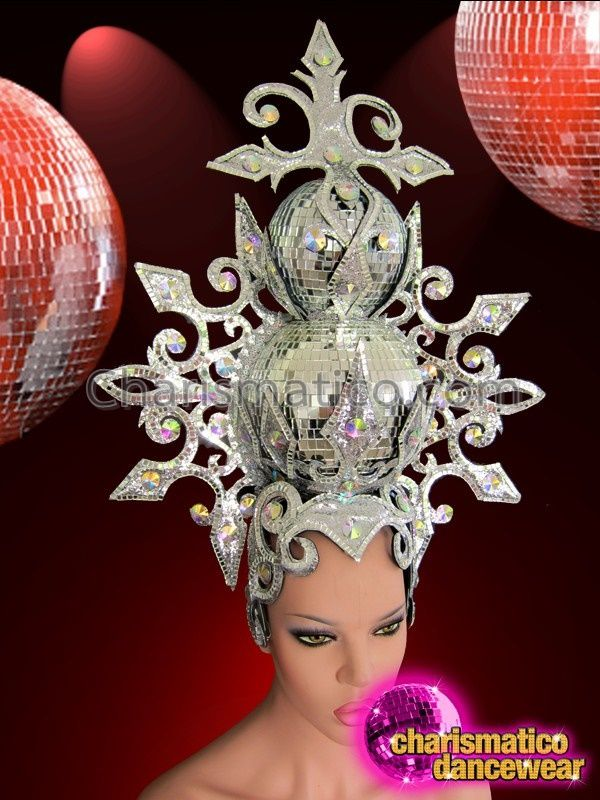 Charismatico Dancewear Store - CHARISMATICO Showgirl's Ornately Accented Mirror Tiled Silver Glitter Disco Cabaret Headdress, €152.32 (http://www.charismatico-dancewear.com/charismatico-showgirls-ornately-accented-mirror-tiled-silver-glitter-disco-cabaret-headdress/)