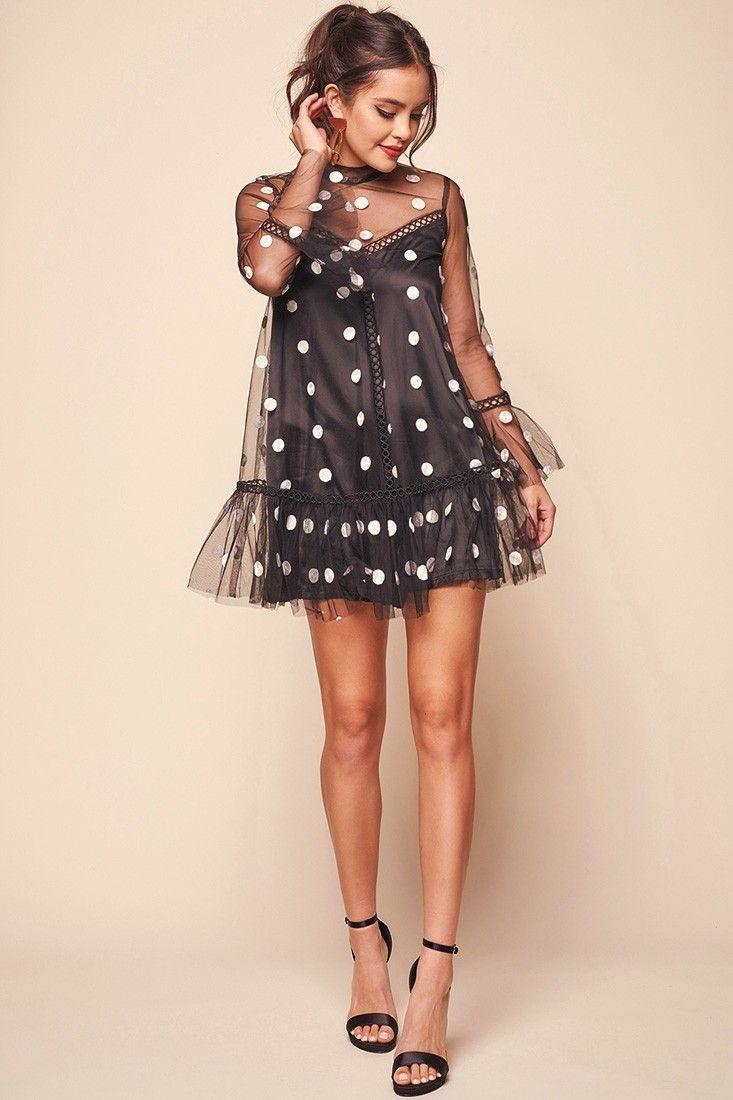 Lena Sheer Overlay High Neck Polka Dot Romper Dress Black Polka Dress Fashion Black Women Fashion [ 1100 x 733 Pixel ]