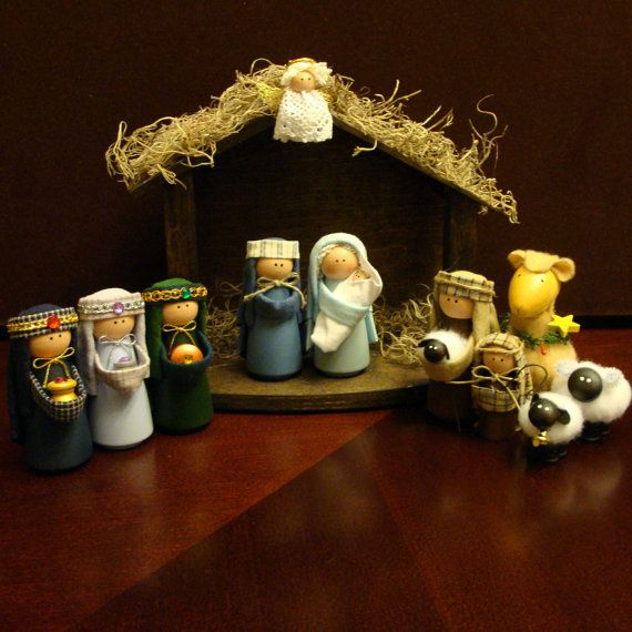 Nativity Set - 11 Pieces Including Stable Nativity Sets Christmas Decoration Handmade Religious Decorations. $58.00, via Etsy.