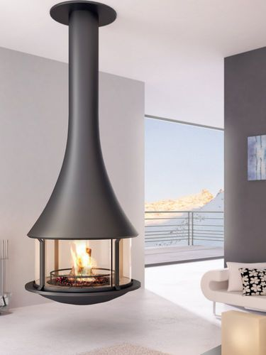 contemporary hanging fireplace (wood-burning closed hearth) -  ZELIA 908  - ArchiExpo