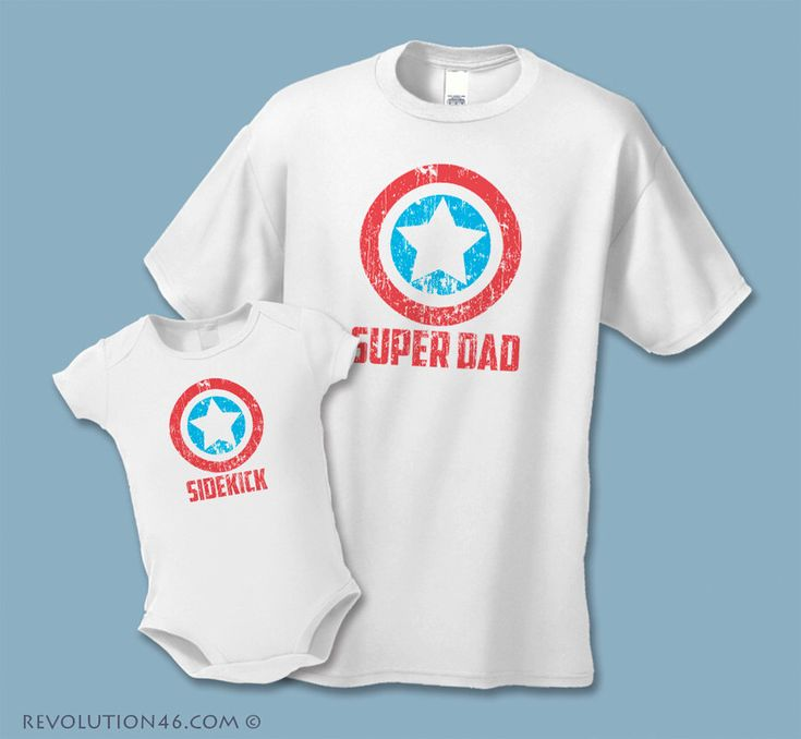 Father's Day Gift - Super Dad and Sidekick Shirts -  Father Son Matching Shirts  (Set of 2) - Distressed Graphic - Daddy Daughter Shirts by REVOLUTION46R46 on Etsy https://www.etsy.com/listing/211374959/fathers-day-gift-super-dad-and-sidekick