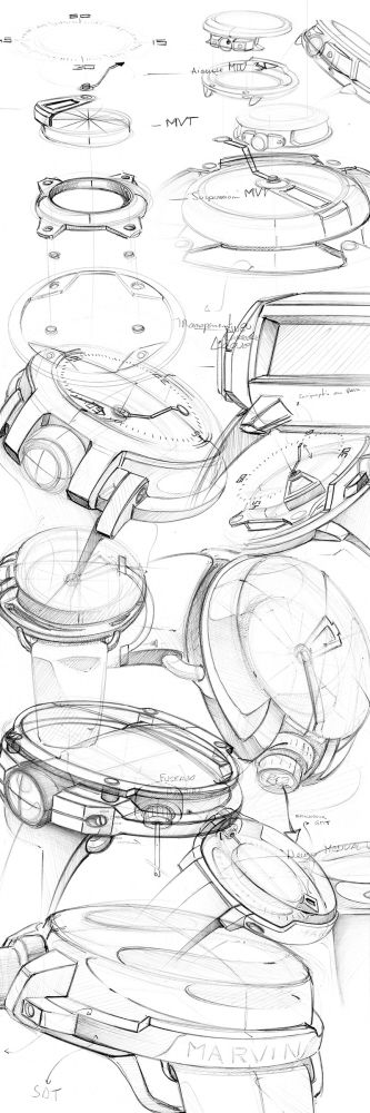 Good sketching detail, variety and form explorations. Via 208558_Q4pijmhF2sKeXzTHm9SEtQpIp.jpg (333×1000)
