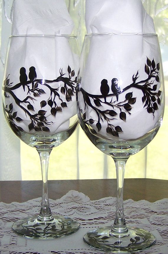 Birds on Branch Silhouette Glasses by BonnysBoutique on Etsy