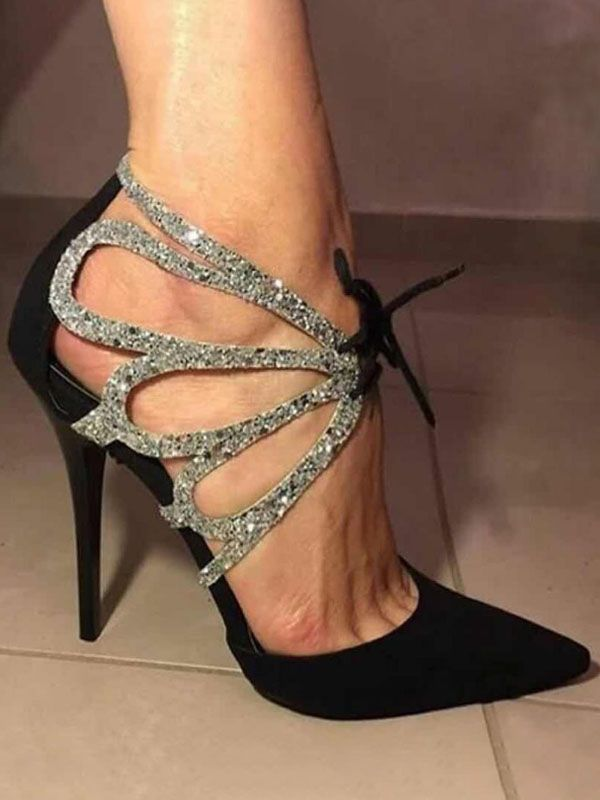Black Point Toe Stiletto Sequin Cut Out Fashion High-Heeled Shoes
