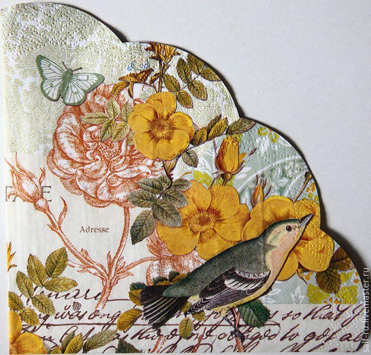 Купить Салфетка ВИНТАЖНАЯ - комбинированный, желтый, шиповник, розы, винтажные бабочки, птицы, надписи, письмо