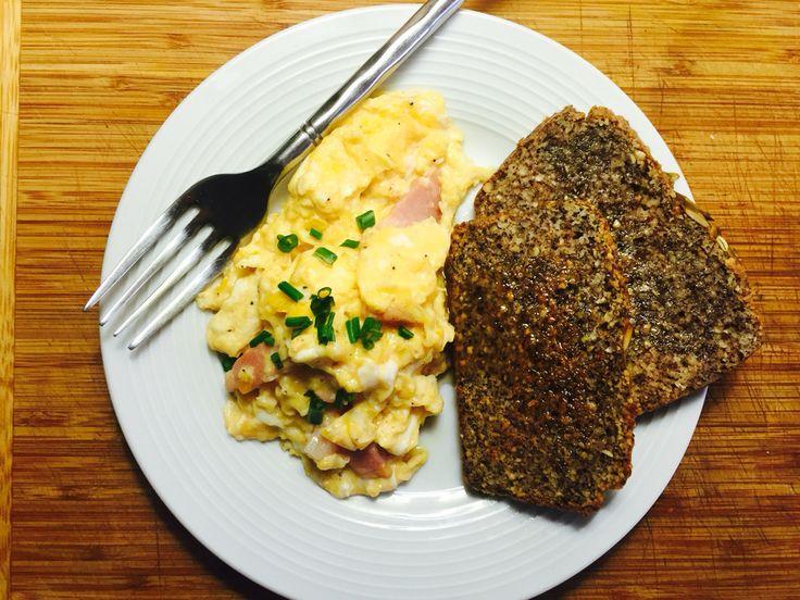 Fuel for champions..Tasty scrambled eggs & Paleo Hemp seed toast 💜