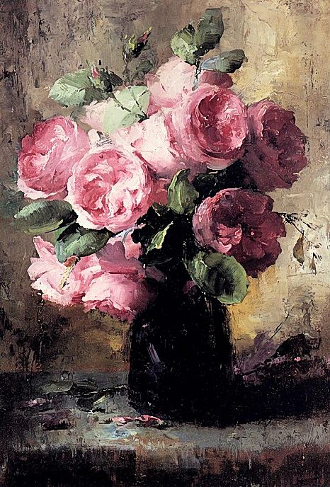 """""""Pink Roses In A Vase""""   Frans Mortelmans."""