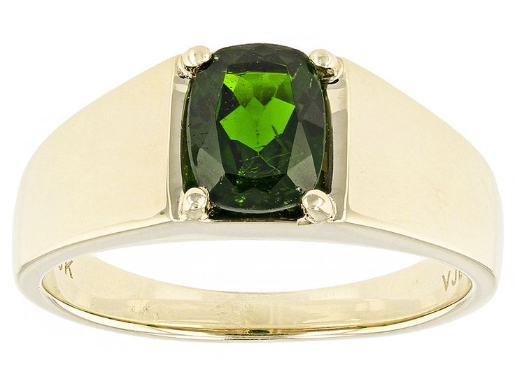 1.10ct Rectangular Cushion Russian Chrome Diopside 10k Yellow Gold Gents Ring