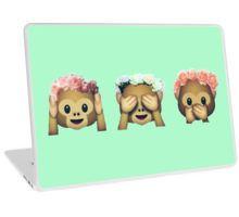 Monkey See No Evil Hipster Flower Crown Emoji Laptop Skin
