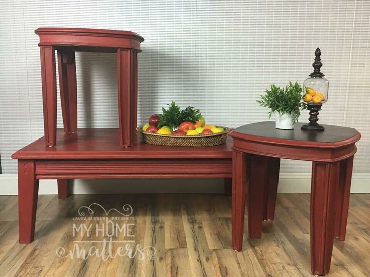 Coffee & side tables in Annie Sloan Emperor's Silk with Dark Wax and General Finishes Java Gel