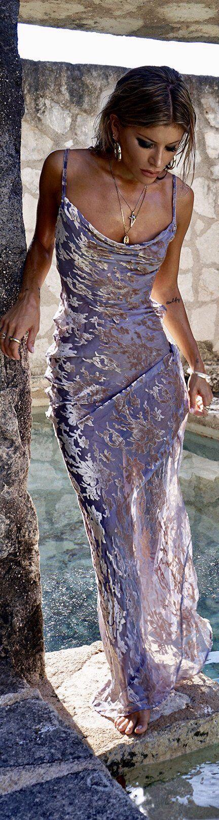 Maxi silk velvet burnout dress