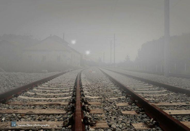 Train rails. Chalkida - Greece Photo from: https://www.facebook.com/oi.halkideoi.se.mia.selida