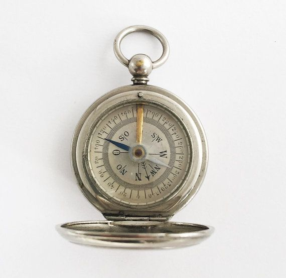 1900 Victorian German Pocket Compass Hunter by TheCompassCollector