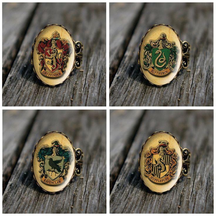 Harry Potter - Hogwarts houses vintage style ring. $13.00, via Etsy.