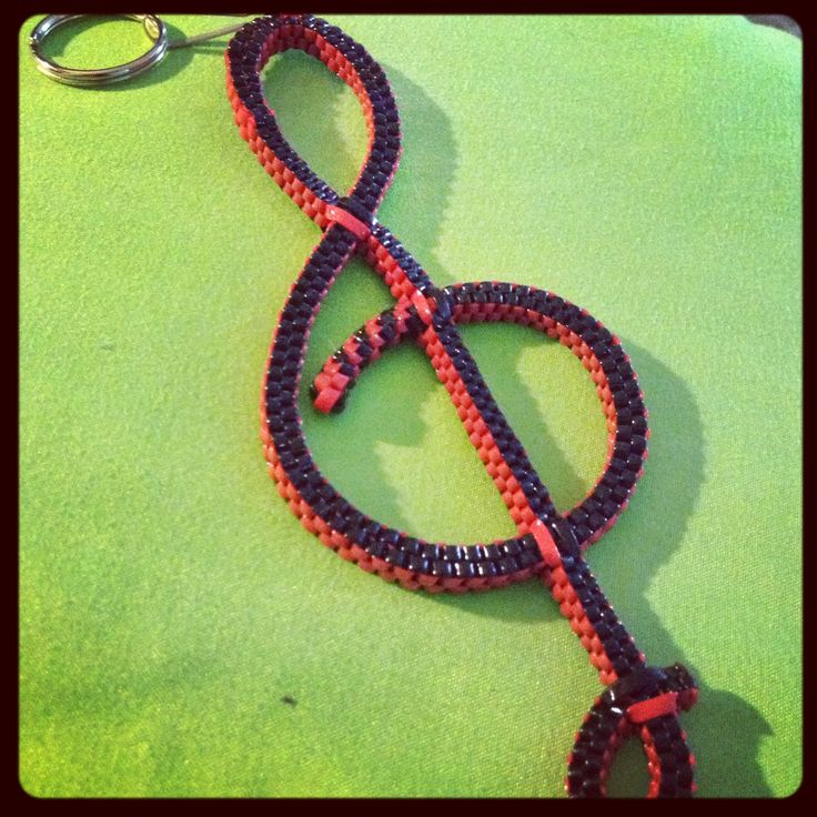 Boondoggle Treble cleft out of craft lace...I LOVE this! I'm gonna do it! :)