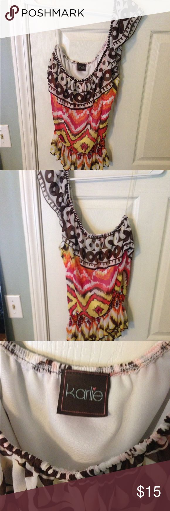 One Shoulder Aztec Top! In PERFECT condition! Super cute for summer! You can dress it up or down! Hate to see it go just not enough room! Karlie Tops Blouses