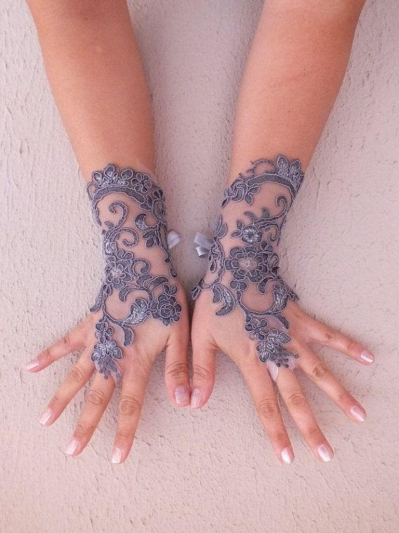 Grey lace glove, Gray lace, embroidered with silver gothic lace glove, bridal accessories, wedding party gloves