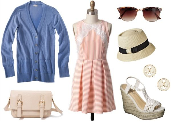 Disney BoardWalk Outfit - pinstriped dress, blue cardigan, wedges