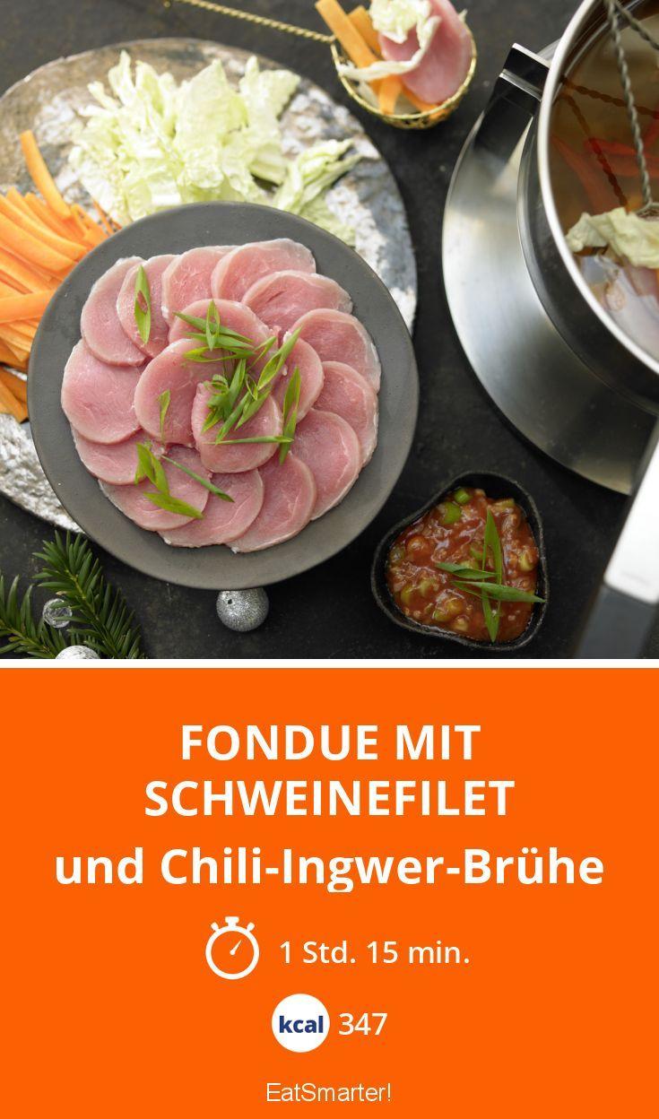 Fondue mit Schweinefilet - und Chili-Ingwer-Brühe - smarter - Kalorien: 347 Kcal - Zeit: 1 Std. 15 Min. | eatsmarter.de