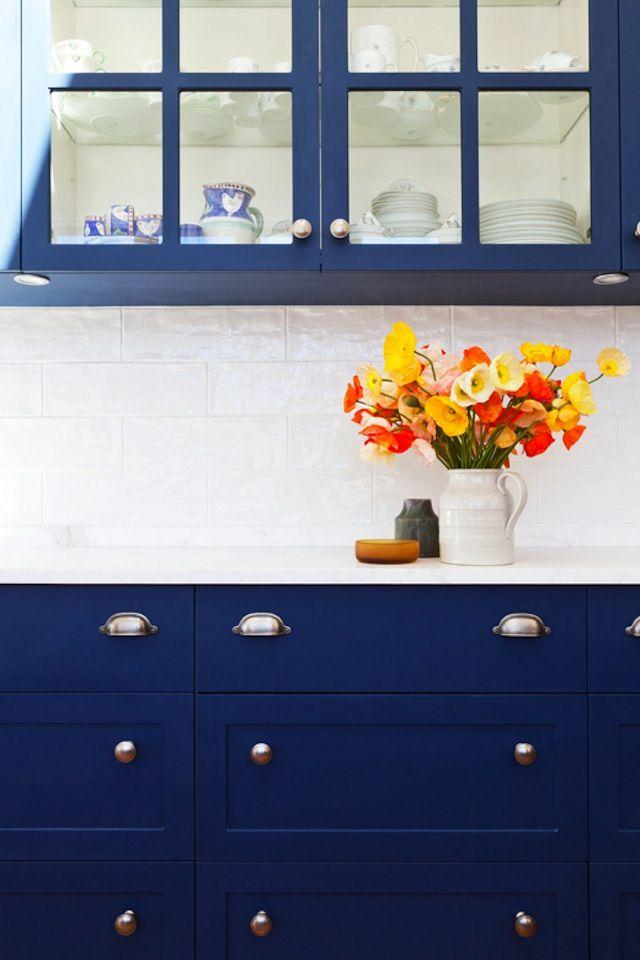 blue kitchen cabinets, white walls, inky blue + crisp white, beach house tour