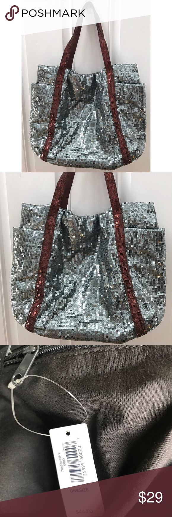 Sequin tote bag Silver sequin tote bag with brown (copper) straps. Inside  zip pocket and 2 outside pockets. New with tag- never used. GAP Bags Totes
