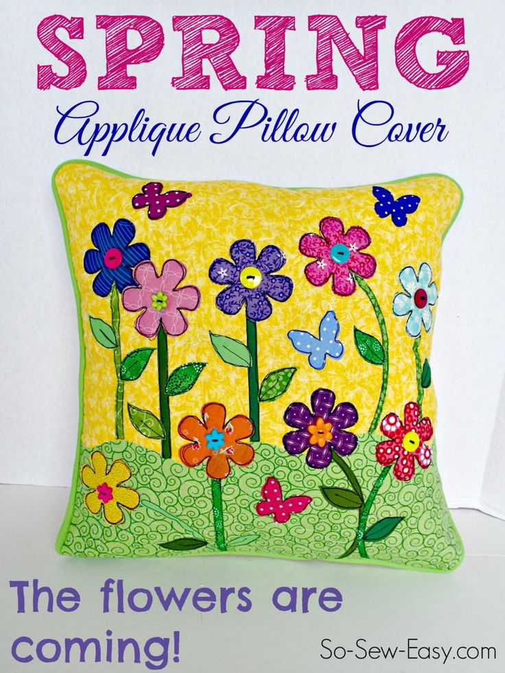 Spring applique pillow cover by PrintOrPlain on Etsy · Free Patterns ...