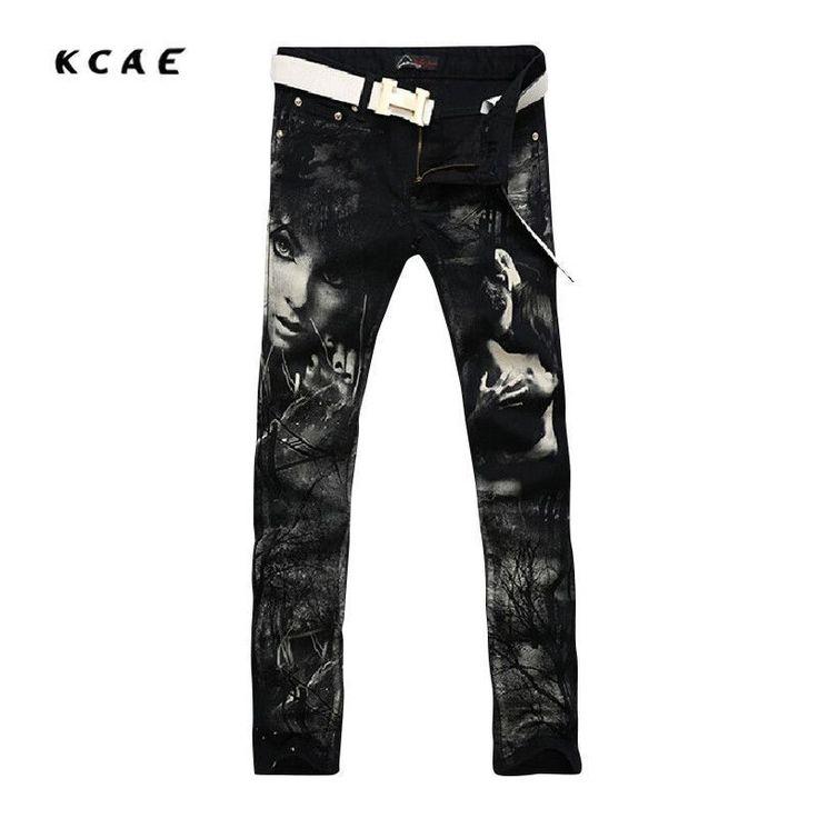 Print Jeans Pants 2016 Black Fashion Jeans Men Print Straight Slim Designer Painted Jeans For Men Slacks Jean Plus Size 28-38