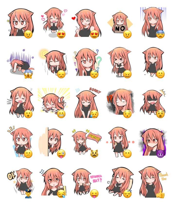 Puniko Stickers Set Anime stickers, Telegram stickers